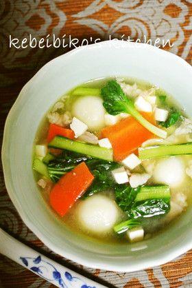 もちもち白玉団子とター菜の中華風スープ
