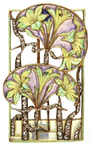 Lalique signed Floral Brooch: diamonds/ enamel plique-à-jour, from the antique…