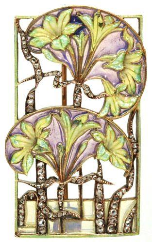 Lalique signed Floral Brooch: diamonds/ enamel plique-à-jour, from the antique…