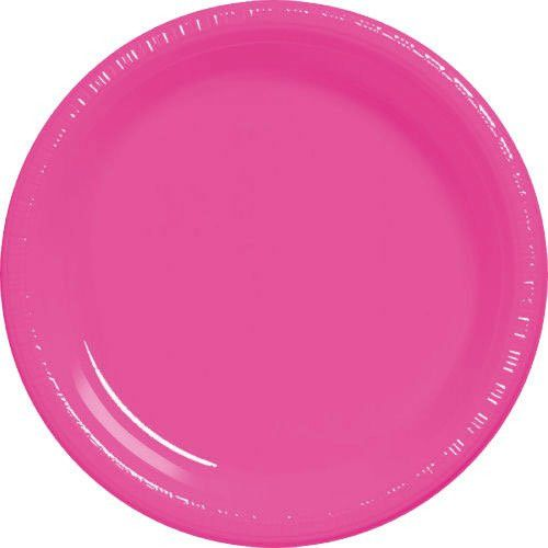 add a solid color 10 14 inch bright pink plastic plate to your table