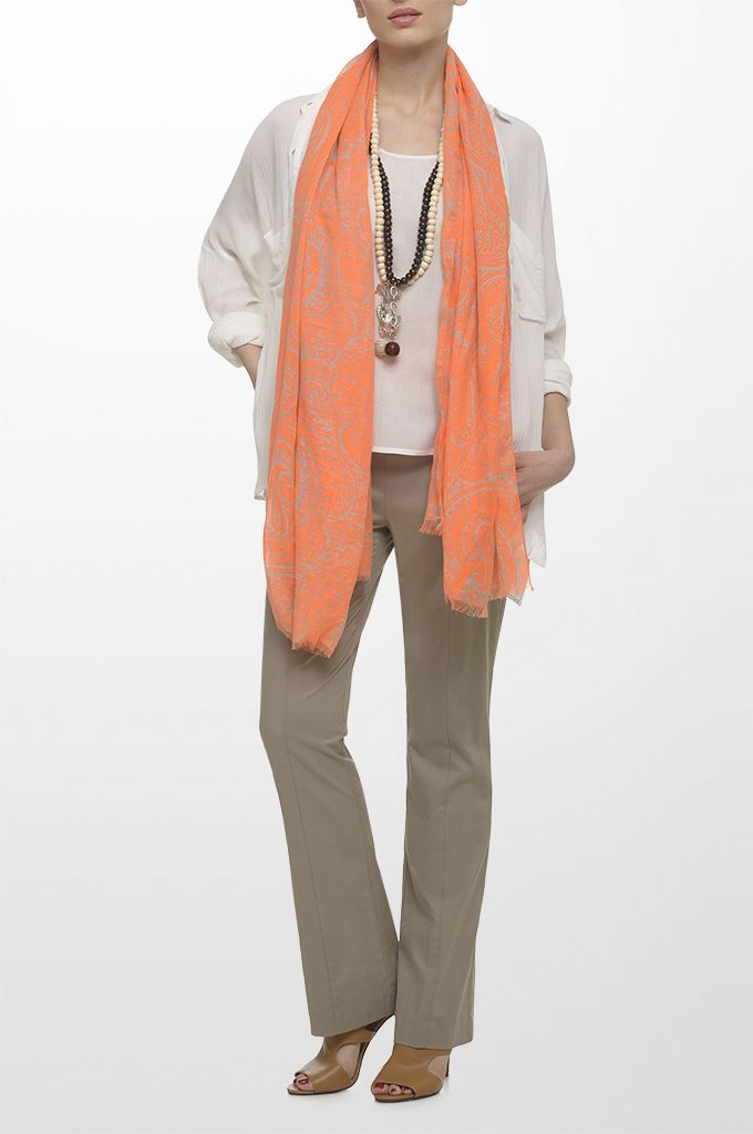 Sarah Lawrence - long sleeve shirt, sleeveless top with beading, city straight leg pant, printed scarf, long layer necklace.