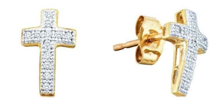 0.1CT Diamond 10K White Gold Cross Earrings