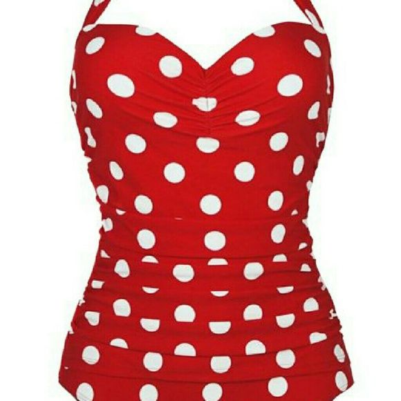 Red and White Polka Dot Halter Swimsuit I bought this online and it doesn't fit. It's an XL but fits more like a Medium. Super cute! Swim One Pieces