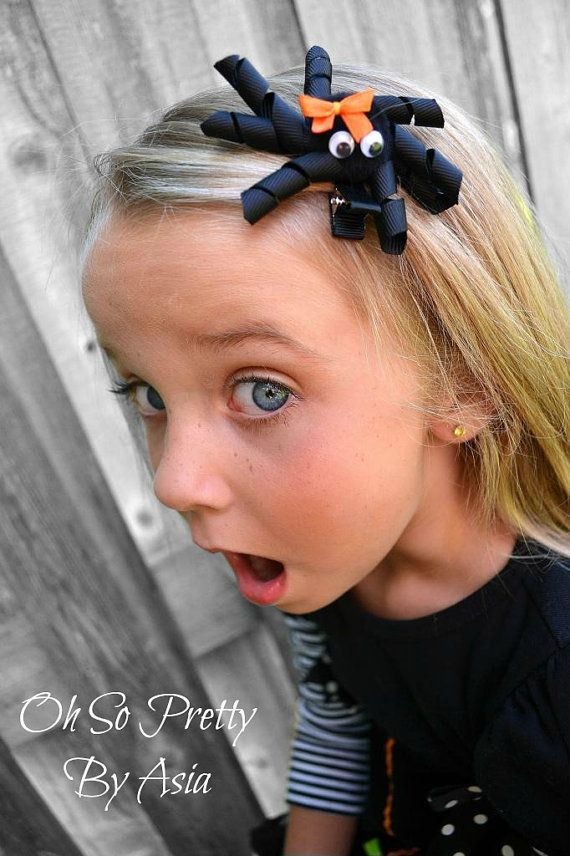 Halloween Hair Bow - Spider Hair Bow - Spider Ribbon Sculpture Hair Bow - Black Hair Clip - YOU PICK ONE - Custom Bow Color on Etsy, $4.50