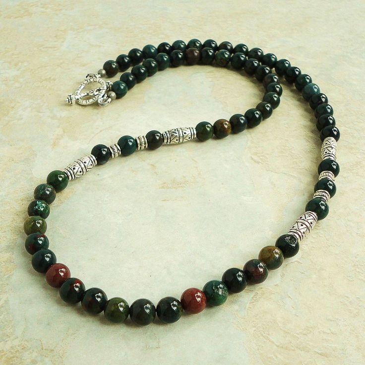 Bloodstone Mens Beaded Necklace, Green Gemstone, Handmade Mens Jewelry. $29.95, via Etsy.