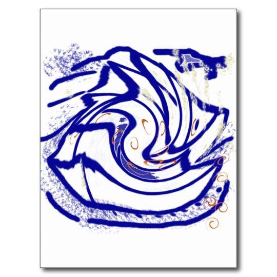angel fish swirl postcard