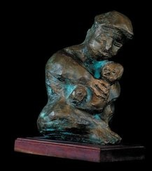 Mother and child - Bronze - Father Frans Claerhout