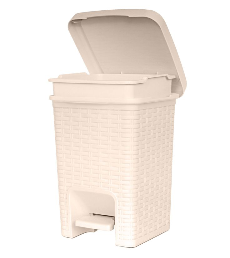 6 5 qt square pedal thrash can rattan style compact trash for Beige bathroom bin