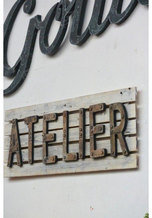 Enseigne atelier inspi design pinterest atelier et lettres - Lettre enseigne vintage ...