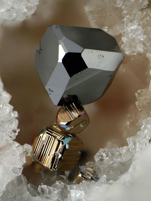 Tennantite on Pyrite - Lengenbach Quarry, Fäld, Binn Valley, Wallis, Switzerland FOV : 2 mm