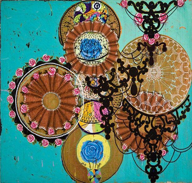 Art Basel Miami: Crianças Fizeram um Homem de Neve , (ano desconhecido), Beatriz Milhazes, da galeria  Mary Anne Martin Fine Art