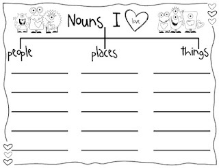 FREE Nouns I love tree map with Art Project! SO CUTE