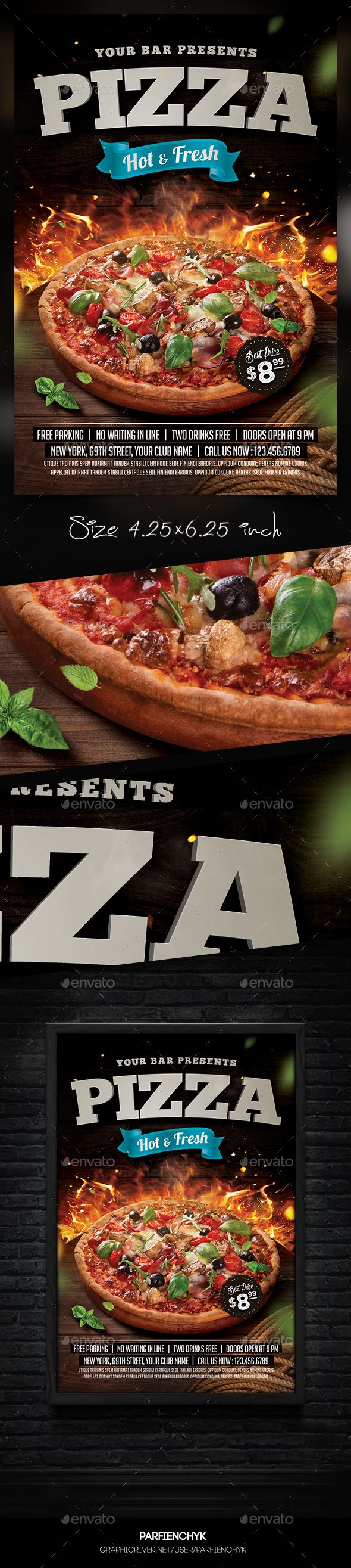 Pizza Flyer   PSD Template • Download ➝ https://graphicriver.net/item/pizza-flyer-template/17160667?ref=pxcr