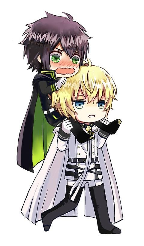 "Owari no Seraph | i love how every time in the manga or anime when mika carries yuu he has this calm ""this is normal"" face"