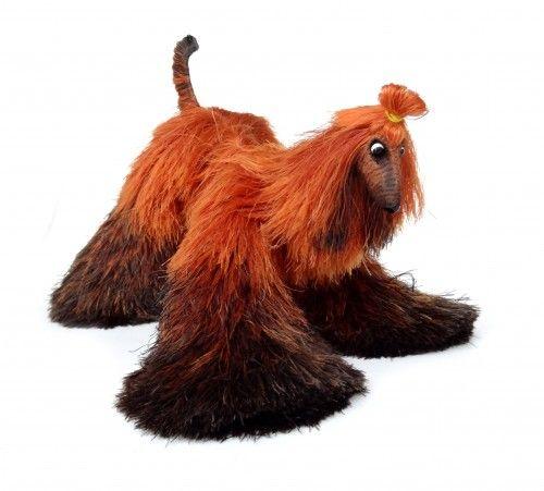 афганская борзая, миниатюрные собаки, милые плюшевые игрушки, оранжево-коричневый собака, располагаемого
