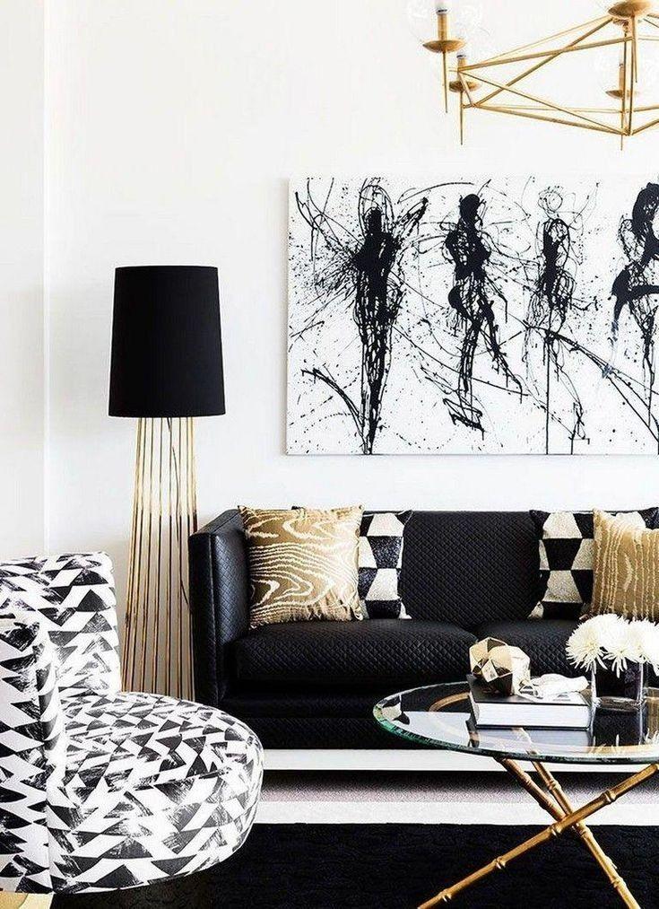 41 Cozy Black And White Living Room Design Ideas Gold Living Room Gold Living Room Decor Modern White Living Room