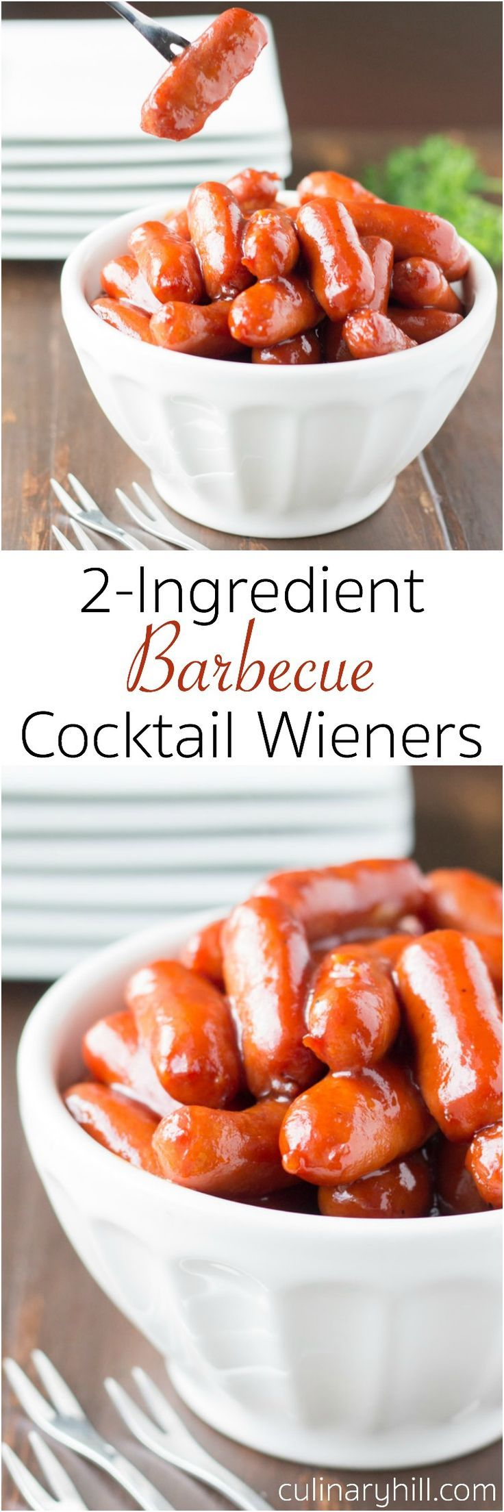 2-Ingredient Barbecue Little Smokies are the easiest appetizer you will ever make, whether you make them on the stove top or in a crock pot. Sweet and smokey cocktail wieners in delicious barbecue sauce make a great snack for Game Day or any party!