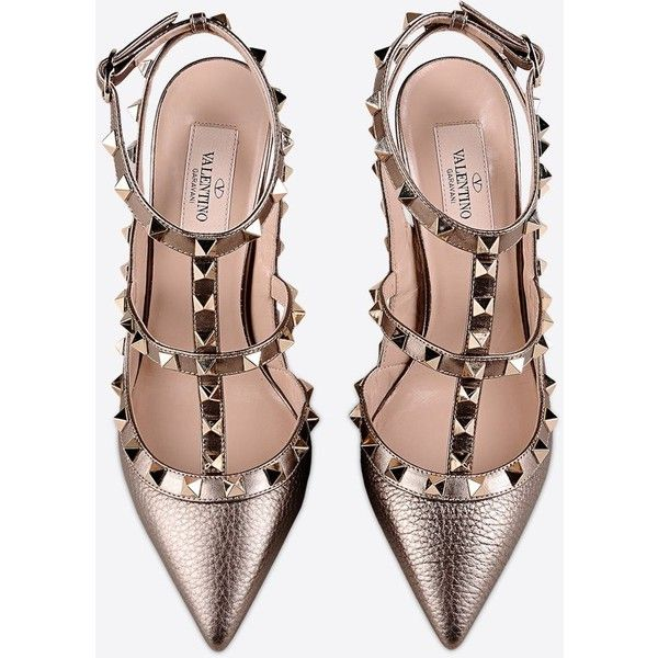 Valentino Garavani Rockstud Ankle Strap (€965) ❤ liked on Polyvore featuring shoes, sandals, strappy sandals, high heel sandals, ankle wrap sandals, metallic high heel sandals and studded shoes