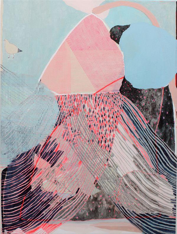 """""""Early Summer Rain"""" 2011 48"""" x 36"""" Acrylic on Canvas - Misato"""