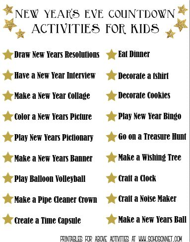 Activities for New Year Countdown - treasure hunt, charades, cookies
