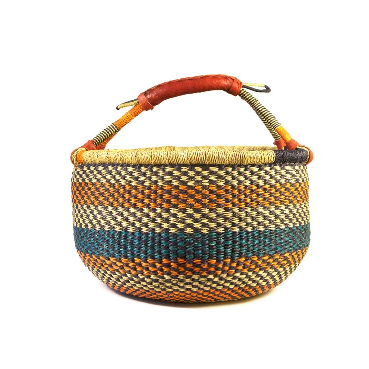 Large round Bolga basket.  Great for storing yarn, magazines, toys or throws.  Handwoven from elephant grass in Ghana.