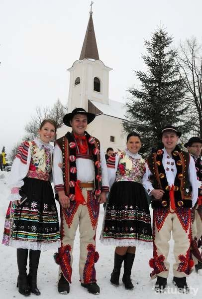 Traditional Folk Christmas in Slovakia, the national folk costumes, Ždiar area.