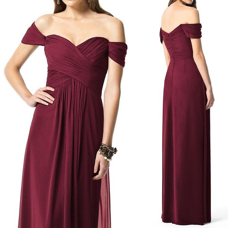 Simple Wedding Dresses Pinterest: Off The Shoulder Chiffon Long Bridesmaid Dress Burgundy
