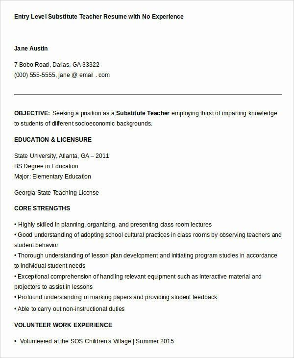Entry Level Teacher Resume Unique Resume Samples For Teachers With No Experience Resume Sample Teacher Resume Examples Teacher Resume Teacher Resume Template