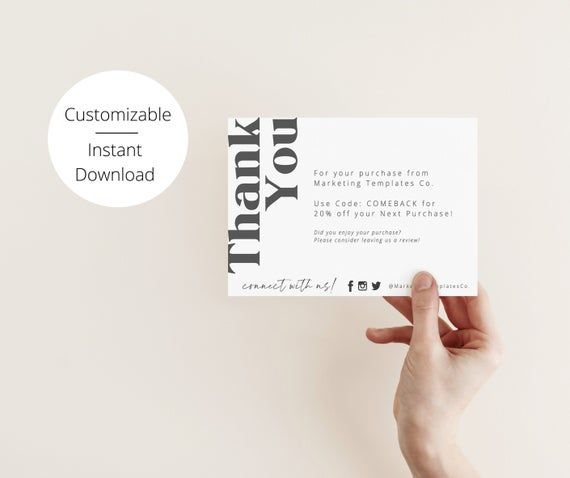 Thank You For Your Order Card Insert Diy Business Thank You Etsy In 2021 Business Thank You Cards Thank You Card Design Business Thank You