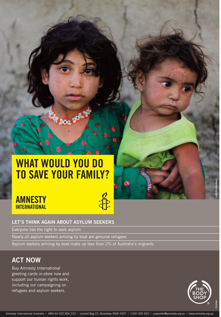 The Body Shop Xmas 2010 Amnesty International Store Poster for Asylum Seeker campaign