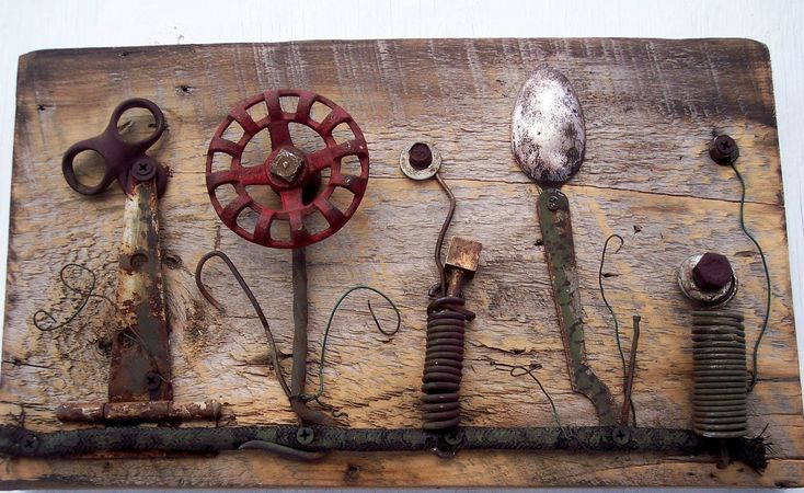 Repurposed metal scultures For The Garden | Vintage Garden Assemblage art on antique wood by bearpawrustics