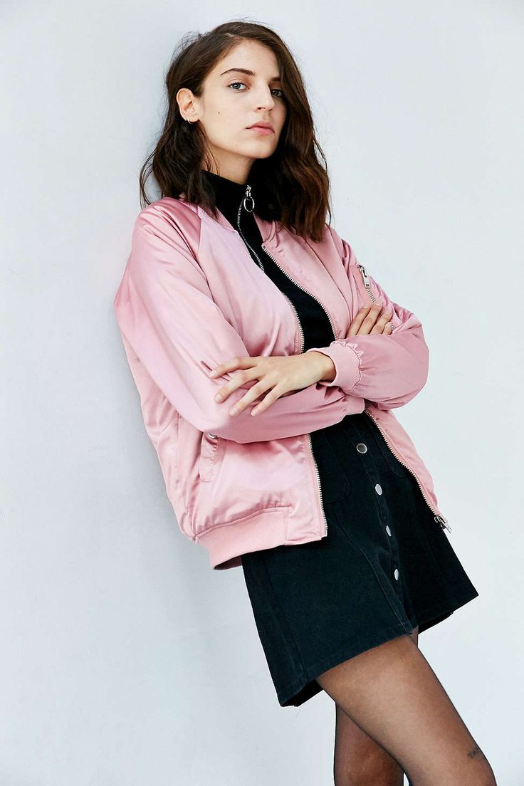 UNIF X UO Satin Bomber Jacket size: S Color: pink Price: $149