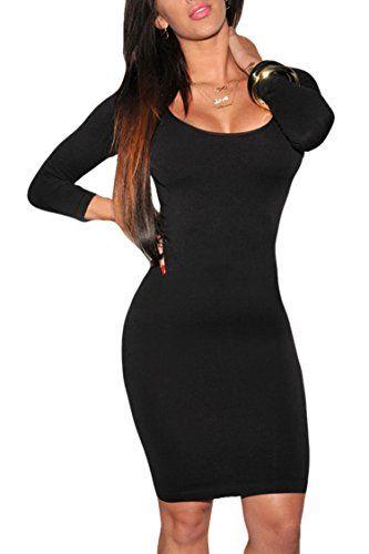 LaSuiveur Womens Extended Sleeves Crewneck Bodycon Bandage Midi Night Dresses