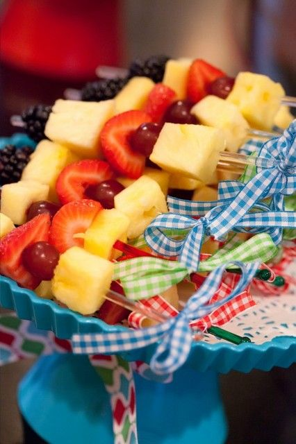 Fruit kebabs at a Snowman Party #snowman #partyfood