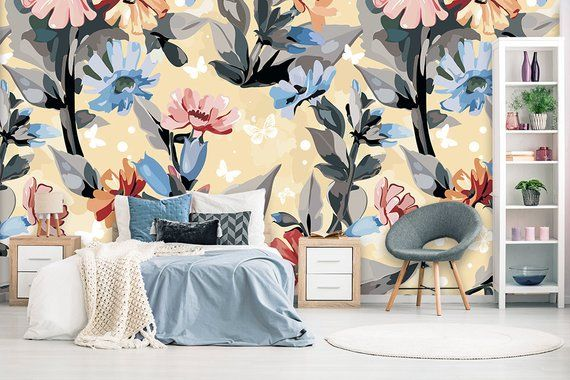 Floral Wallpaper Watercolor Flower Wall Mural For Bedroom