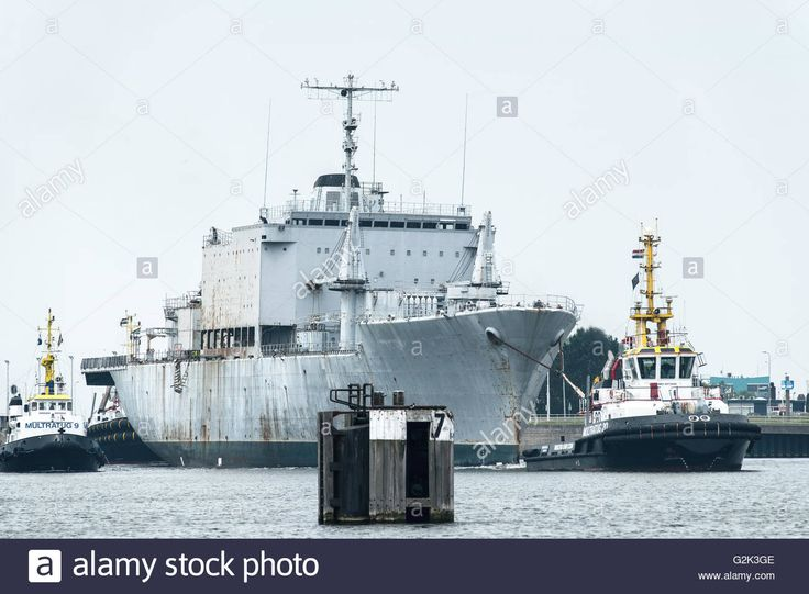 French ship Jules Verne A620 is leaving the port of Terneuzen on its way to the scrapyard in Ghent Belgium Stock Photo