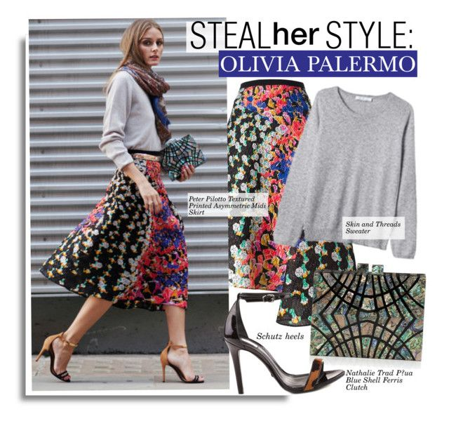 """""""Steal Her Style-Olivia Palermo"""" by kusja ❤ liked on Polyvore featuring Peter Pilotto, Nathalie Trad, Skin and Threads, Schutz, Stealherstyle, OliviaPalermo and celebstyle"""