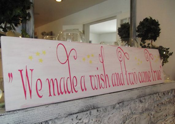 "TWINS Nursery Decor, baby girl's Nursery Sign, baby boy's  ""We made a wish and two came true"" Large wall art 12x48"
