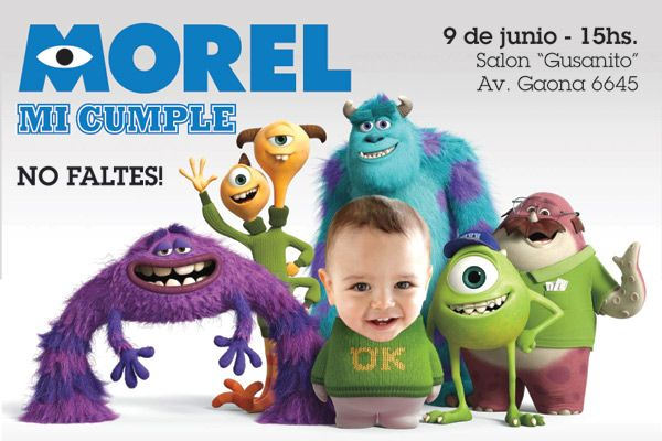 Invitación de cumple personalizada de Monster Inc