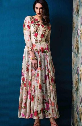 f66c7f86f3 Cream Designer Party Wear Gown with Floral Print in 2019   SAP   Printed  kurti, Designer gowns, Printed kurti designs