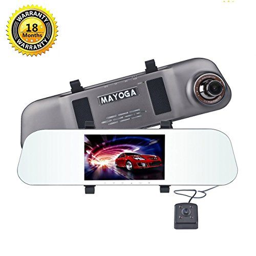 "Dual Lens Car Camera, MAYOGA FHD 1080P Front and Rear Dash Cam Dashboard Vehicle Camera DVR Camcorder On-dash Video Rearview Mirror Recorder 170° Wide Angle/5"" IPS Screen/G-Sensor/Loop Recording/WDR. For product info go to:  https://www.caraccessoriesonlinemarket.com/dual-lens-car-camera-mayoga-fhd-1080p-front-and-rear-dash-cam-dashboard-vehicle-camera-dvr-camcorder-on-dash-video-rearview-mirror-recorder-170-wide-angle5-ips-screeng-sensorloop-re/"