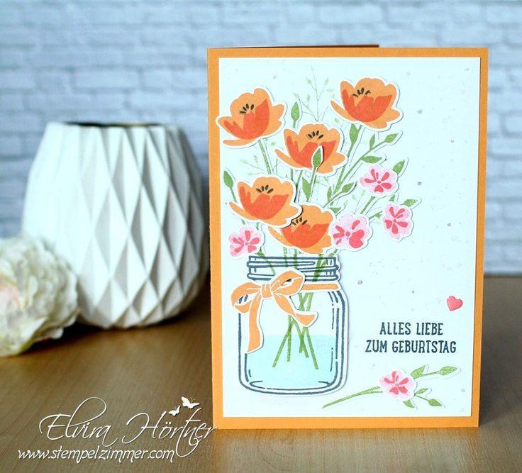 Glasklare Grüße - Einmachglas mit Blumenstrauß