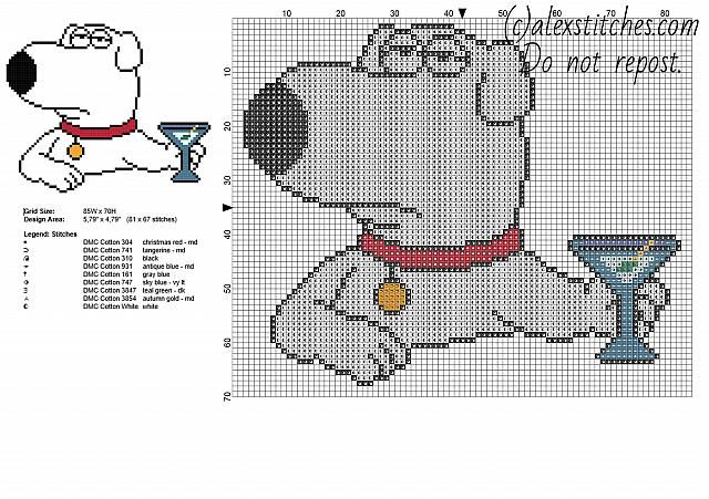 Brian Griffin Family Guy cartoon character free cross stitch pattern