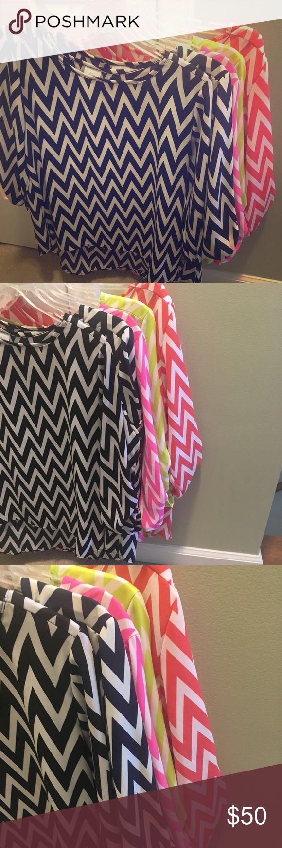 BUNDLE DEAL-Adrienne Boutique Chevron Tops $50 for 5!! These are Boutique tops that were gently worn and perfect for spring/summer. Light weight material and you can have black, navy, pink, lime green, and corral. Smoke free home. Adrienne Tops Blouses