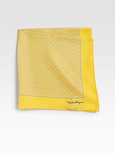 Yellow Pocket Square by Salvatore Ferragamo. Buy for $120 from Saks Fifth Avenue