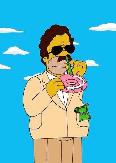 El artista también personificó al narcotraficante colombiano Pablo Escobar Gaviria en Homero Simpson FOTO: humorchic.blogspot.mx
