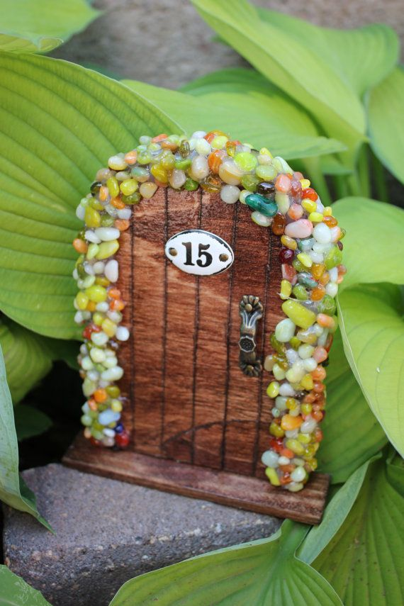 Miniature Wood Fairy Hobbit Garden Door Red Oak by TheFabledDoor, $15.00