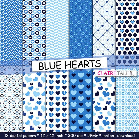 """Valentine's day digital paper: """"BLUE HEARTS"""" valentine's day backgrounds with hearts in blue colours / valentine's hearts patterns by clairetale. Explore more products on http://clairetale.etsy.com"""