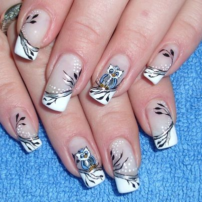 Cute Owl design Nail art for girls - Fonte www.peakstyles.com - The 25+ Best Owl Nail Art Ideas On Pinterest Owl Nails, Owl Nail