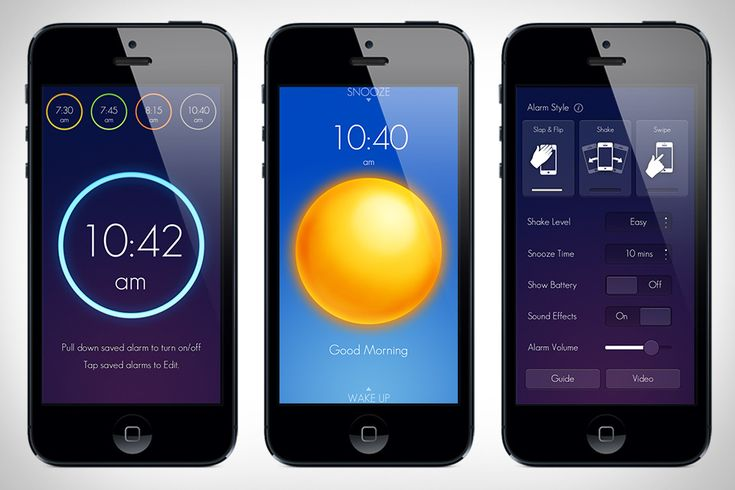 The Wake Alarm ($1) iOS app takes the standard alarm clock and turns it into a simple game with an attractive UI. Spin the dial to set your alarm, or swipe to see your saved alarms. When the alarm goes off, you can slap your iPhone to snooze, or flip it over to turn it off.